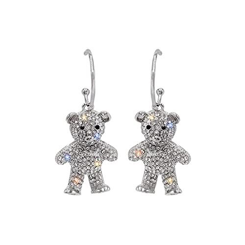 Creativos lindos pendientes de oso de taladro completo minimalismo diseño de dibujos animados ganchos de oreja femeninos colgantes joyería regalo