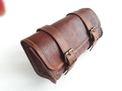 Vintage Motorrad-Lenkertasche, echtes Ziegenleder, 2 Riemen, Schnalle/Verschluss, braune Werkzeug-Tasche, Schnellverschluss, , für Lenker/Sissybar – 25,4 cm