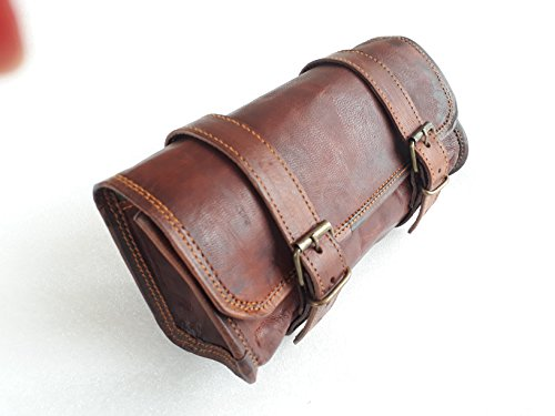 Vintage Motorcycle Genuine Goat Leather 2 Strap Buckle Closure Tool Brown Bag Quick Release Clasp Reinforced for Handlebars,Forks, Sissy Bar - 10'