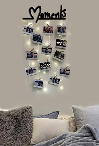 Vah Wood Hanging Photo Display Picture Frame Collage Organizer with Clips - a Moments (Black)