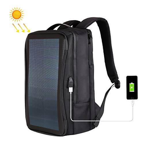Solar Panel 12W Power Backpack Laptop Bag with Handle and USB Charging Port(Black)