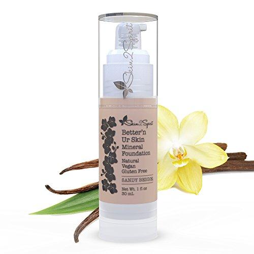 Better'n Ur Skin SANDY BEIGE Organic Liquid Foundation (Light/Medium/Neutral) | Healthy Makeup | All Natural | Vegan | Cruelty Free | Gluten Free | Non GMO | Palm Free | Natural Sun Protection
