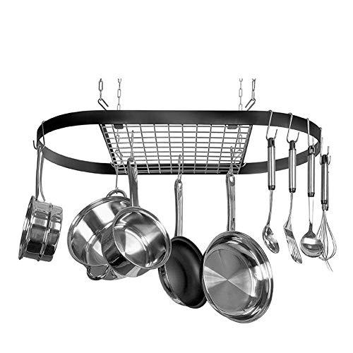GOTOP Küchenregal, Küchenregal, Küchenregal für Vase und Glades, Gitter für Vintage Decken, Pot & Pan Rack mit 10 Haken, aus Edelstahl, 82 x 42 x 50 cm