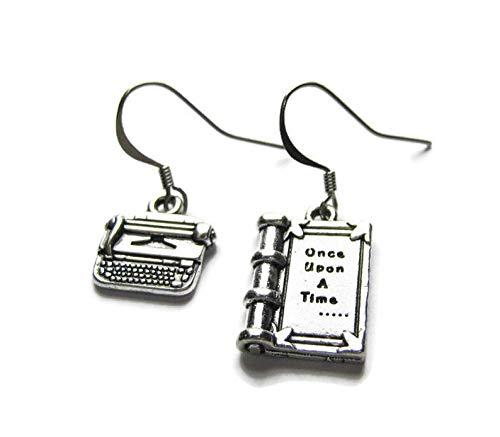 Orecchini a forma di macchina da scrivere e libro in argento Sterling con scritta 'Once Upon A Time'
