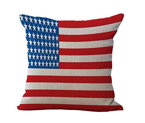 Eazyhurry American Style Motif imprimé en Lin Couvre-lit décoratif Housse de Coussin Chaise de Bureau Coussin de Dossier décoratifs Taie d'oreiller 45,7 x 45,7 cm, Drapeau des USA, with Filler