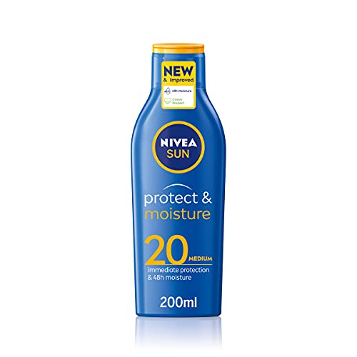 Nivea SUN Protect & Moisture Sun Lotion SPF20 (200 ml), Moisturising...