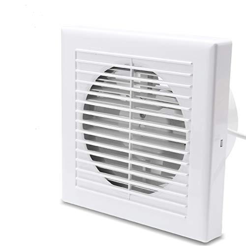 Hengda Ventilator 150 mm Badlüfter mit Rückstauklappe für Bad und Küche Wandventilator, WC, niedrigem Energieverbrauch 21W, leiser Betrieb 38 dB Weiß