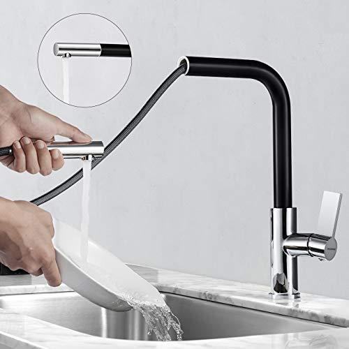 Wasserhahn Küche Ausziehbar, WOOHSE 360° Schwenkbar Küchenarmatur Ausziehbar Schwarz, Spültischarmatur mit Brause, Einhebelmischer Armatur Küche Hochdruck, Mischbatterie für Küche Spüle