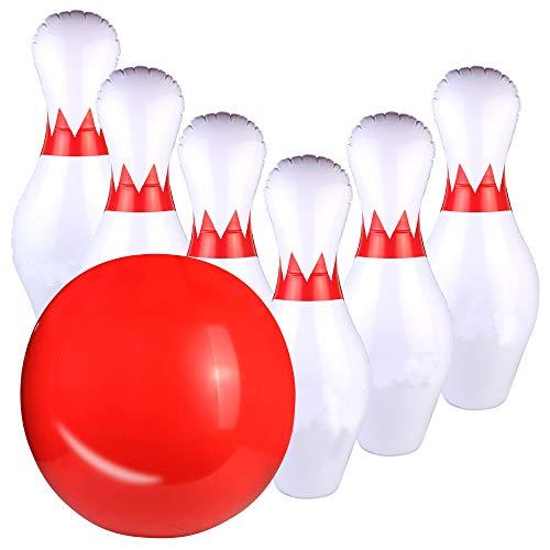 Fajiabao Kegelspiel für Kinder Aufblasbarer Bowling Set Kinderspielzeug Bowlingkugel Kegel mit 6 Kegel 1 Bälle Drinnen Draußen Spielzeug Geschenke für Junge Mädchen ab 3 4 5 Jahren