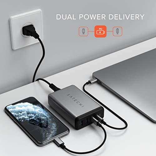 Satechi75WデュアルType-CPDトラベルチャージャー2USB-CPD&2USB3.0急速充電PSE認証(MacBookPro2016以降,MacBookAir2018以降,iPadPro,iPhoneなど対応)