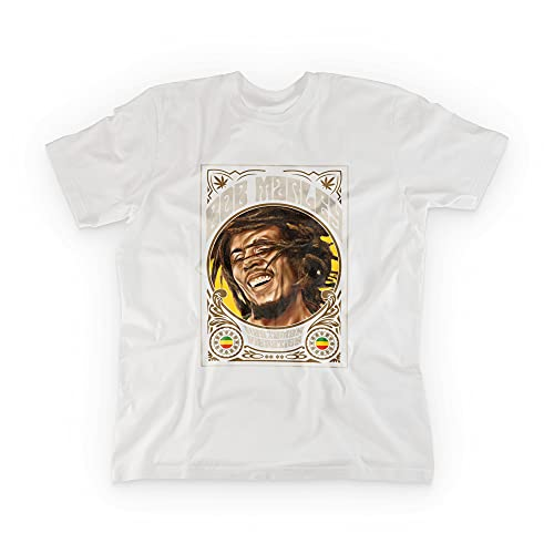 Imprenta2 - Camiseta Blanca Unisex - Diseño Bob Marley - Leyendas de la música - 100% Algodón