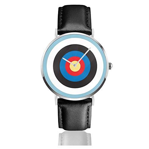 Bulls Eye Right On Target Roundel Bogenschießen Mod Hit On Blau Lederband Armbanduhr Casual Classic Edelstahl Quarz Business Uhr