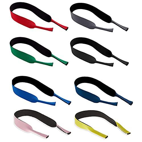 Paquete de 8 Cordón elástico neopreno para gafas de sol y gafas deportivas -Correa de neopreno para retención gafas- Porta gafas Gafas para la cabeza Banda para la cabeza Flotador antideslizante Cuerd