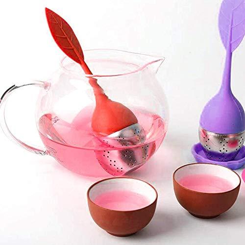Nicejoy Acero Inoxidable De Silicona De Infuser del Té De Hojas Sueltas con Silicona Asa De La Bandeja De Goteo 6 Colores para 12pcs Herbal Tea