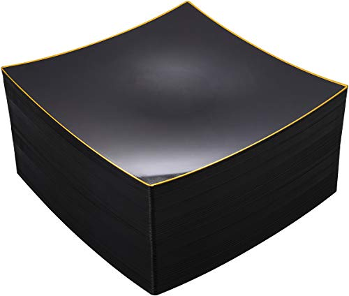 NERVURE 60Pieces Black with Gold Rim Plastic Plates- Square Disposable Plates-Wedding Party Ware Including 10.5 Inch Heavy Duty Dinner Plates