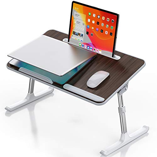 Laptop Desk for Bed, Sopownic Laptop Bed Tray Table Adjustable Height Foldable Legs, Portable Stand Bed Desk for Notebook Ipad, Wooden Tablet Table for Couch/Sofa, Ideal for Breakfast/Working/Picnic