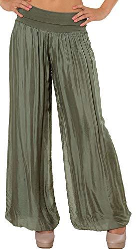 Caspar KHS010 Damen Elegante Lange Marlene Hose Hosenrock mit Seidenanteil und hohem Stretch Bund, Farbe:Oliv grün, Größe:L-XL