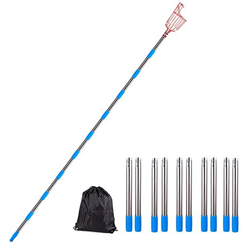 HXDY Removable Stainless Steel Telescopic Fruit Picking Basket, Used for Gardening Fruit Picking Tools, with Storage Bag 10 sections 4.0m