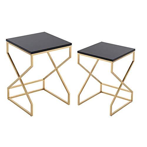 Tavolo da letto, Tavolini Quadrato Tavolino da caffè piccolo, Sofa Tavolino combinato, Bianco Accent Side End Table Basamento notturno moderno, grande + tavolino da caffè piccolo colore: bianco, dimen