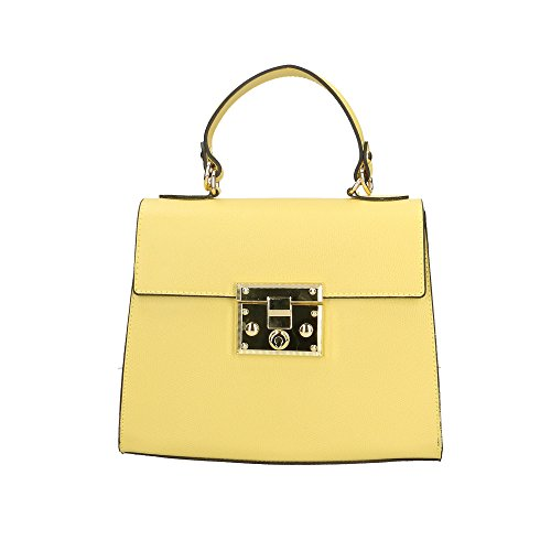 Chicca Borse Borsa a Mano Donna in Pelle Made in Italy 25x20x10 Cm