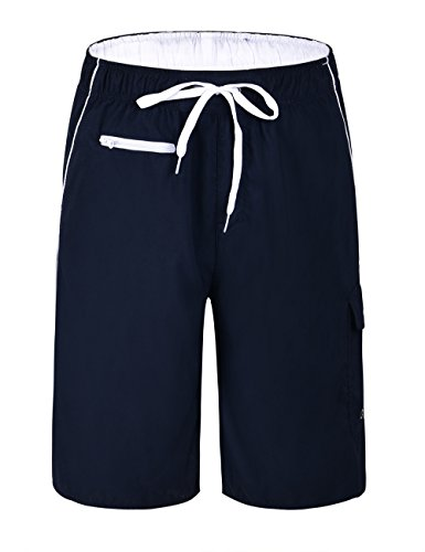 Nonwe Men's Beachwear Board Shorts Quick Dry Zipper Pockets with Lining Navy(White Straps) 36