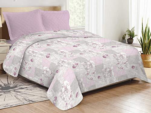 CosiCasa - Colcha reversible de 1 plaza y media, 100 gramos (220 x 250 cm), diseño de patchwork, color rosa, para cama de matrimonio, ligera, primaveral y otoñal