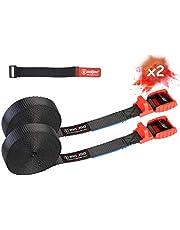 MAGMA Cambuckle Straps | Laadband voor fiets rek surfplank Motor auto kajak en dragers | Verstelbare en zwaar belaste riemkabels voor omsnoerings gereedschappen vracht | Bevestigingsband - SWL: 250kgf (5m - 2 eenheden, rood)