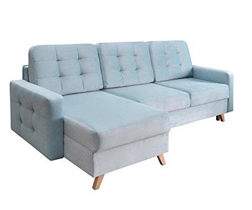 mb-moebel Ecksofa Sofa Eckcouch Couch mit Schlaffunktion und Bettkasten Ottomane L-Form Schlafsofa Bettsofa Polstergarnitur - Carla (Ecksofa Links, Blau)