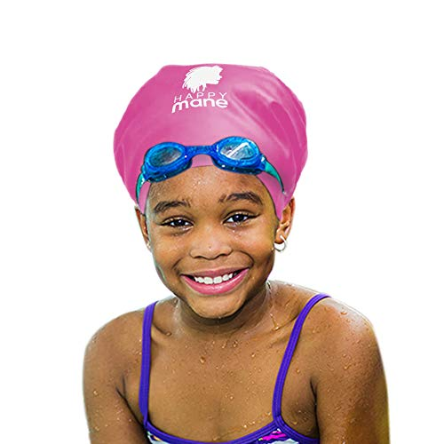 Happy Mane Silicone Swim Cap for Braids and Dreadlocks - Keeps Your Hair Dry While Swimming and Bathing Long Hair, Extensions, and Curly Hair - Large Shower Cap for Women, Men, Kids (Pink, Small)