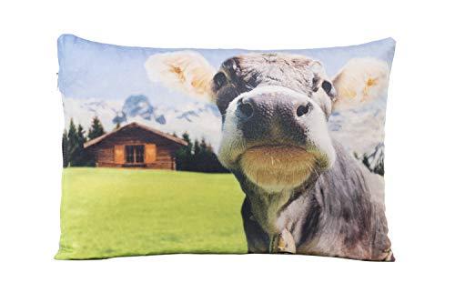 Tiroler Zirbenkissen 30x20 cm Kuh - handgemachter Polster aus hochwertigen Zirben