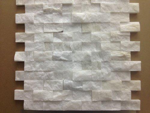 Marble 'n things Italian White Carrara Split Face 1x2 Mosaic Tile for Kitchen Backsplash, Wall Tile