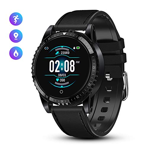 smartwatch ios waterproof GOKOO Smartwatch Uomo Fitness Activity Tracker Bluetooth Intelligente IP68 Waterproof con cardiofrequenzimetro Sportivo da Polso in Pelle per Android iOS (Nero)