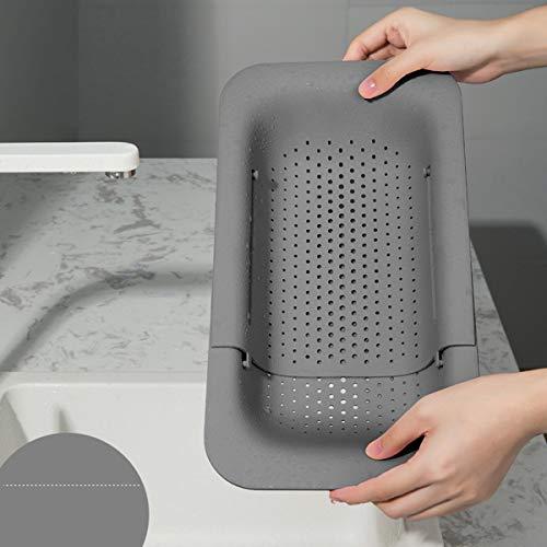 LACKINGONE Waschbecken Filterablage Multifunktionaler Küche Lagerregal Einstellbarer Spüle Abfluss Regal für Geschirr Obst Gemüse (grau)