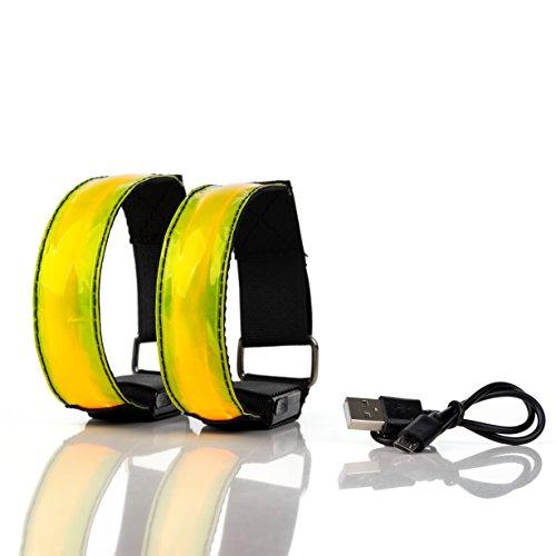 Actinetics Aufladbares LED Armband, Leuchtband für Joggen, Laufen – Sicherheitslicht, Reflektor und Blinklicht für Kinder – Blinkende und statische LED-Funktionen, USB aufladbar (2 Stück)