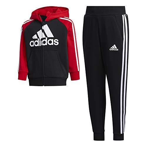 adidas Kinder LK B FT TRACKSU Sportoutfit, Negro/Escarl/Negro, 122 (6/7 años)