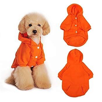 Eastlion Sweat à Capuche pour Chien Chat Chaud Manteau d'hiver pour Chiens Doux Pull Vêtements en Coton pour Animaux Petit Moyenne Chien Chiot Chihuahua Poodle Teddy (Orange,S)