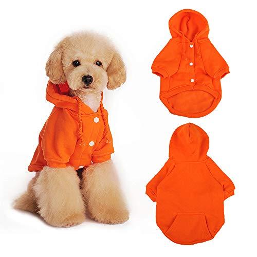 Eastlion Sudaderas con Capucha para Perros Gatos Suéter Perro,Invierno Cálido Abrigo Ropa de algodón para Perros Pequeños y Medianos (Naranja,XS)