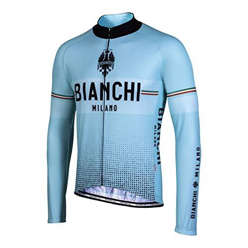 Biancini Milano – Thermo-Trikot, lange Ärmel, hergestellt in Italien, Modell Sillaro, Farbe hellblau, weiß, Größe M