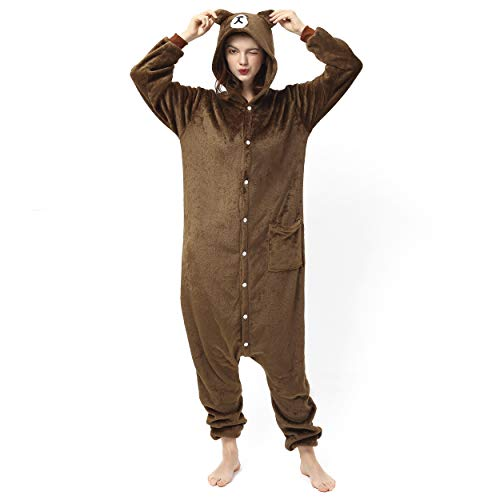 Katara- Pijamas Enteros Diferentes Animales y Tamaños, Adultos Unisex, Color Oso marrón Oscuro, Talla 155-165cm (1744)