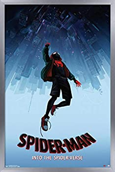 Trends International Marvel Man-Into The Spider-Verse-Falling Wall Poster 22.375  x 34  Silver Framed Version