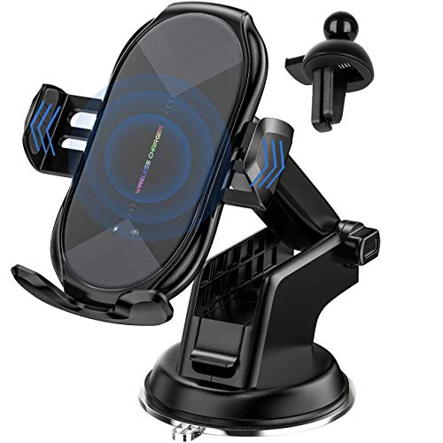 HonShoop Wireless Car Charger Mount, 10W/7.5W Qi Fast Charging Auto-Clamping Car Mount Air Vent Windshield Dashboard Car Phone Holder