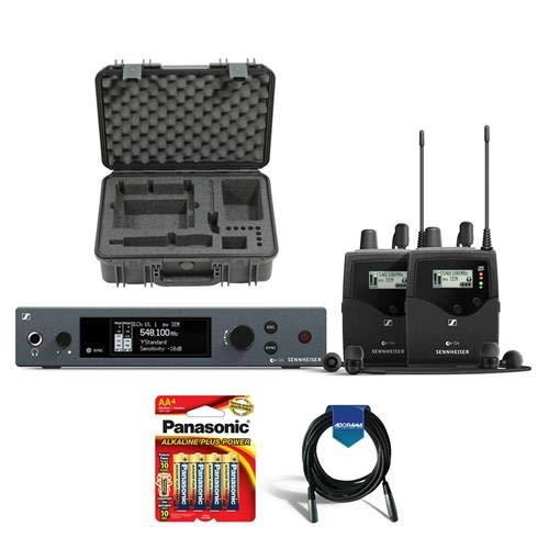 Sennheiser ew IEM G4-Twin Wireless Stereo Monitoring Set with Transmitter & 2x Receiver, A: 516-558 MHz - Bundle With SKB Injection Molded Waterproof Case, 20' HD XLR Mic Cable, 4x 1.5V AA Battery