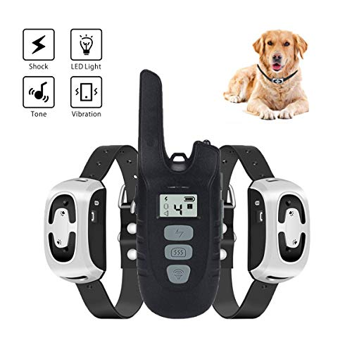 Havenfly Dog Training Collar for 2 Dogs Electric Dog Shock Collar with Remote 1500ft Waterproof Rechargeable Dog Bark Collar with Beep,Vibration,Shock and LED Light for Small/Medium/Large Dogs
