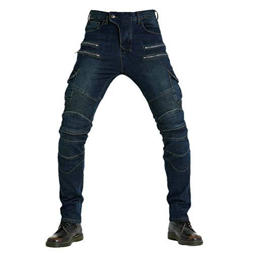 YuanDiann Hombre Mujer Jeans De Moto Pantalon Motorista Vaqueros De Moto Cremallera Mezclilla Motociclista Proteccion Pantalon con 2 Protectores Rodilla y 2 Protectores Cadera Azul 29W / 42L