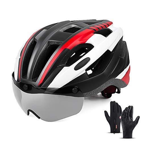 HVW Casco de Bicicleta, Casco de Bicicleta especializado Ultraligero con Gafas Desmontables y Guantes de Ciclismo Tamaño Ajustable 22-24 en Cascos Cascos Unisex,Rojo