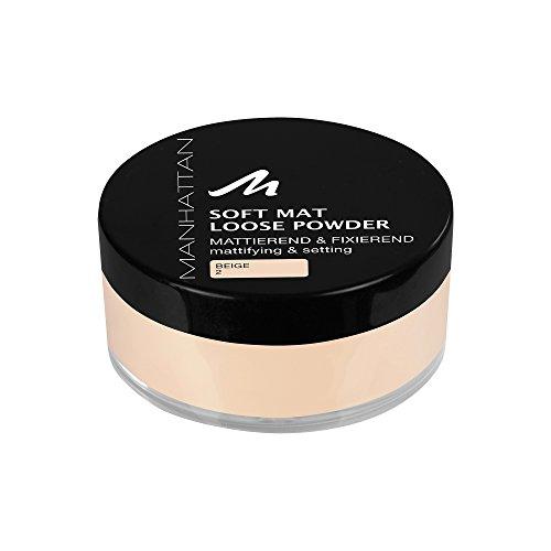 Manhattan Soft Mat Loose Powder, Loses Puder zum Mattieren und Baken des Teints, Farbe Beige 2, 1 x 20g