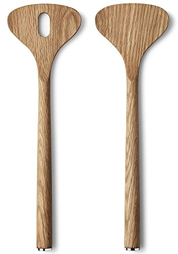 Georg Jensen Alfredo Oak Wood Salad Server Set, 7.09 inches, Oak Wood, Party Essentials, Perfect for Salad Lovers