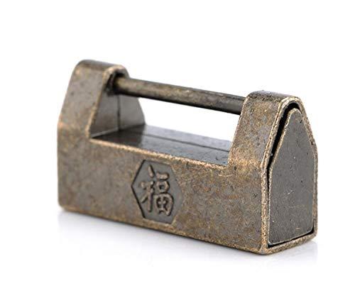 El Zinc De La Aleación De La Vendimia Antigua China Old Lock Candado Retro Joyería Caja De Madera Candado Cerradura For Maleta Del Gabinete Del Cajón (Color : Bronze)