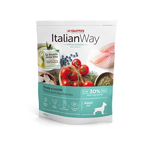 Italian Way Cibo per Cani Ipoallergenico Ideal Weight Trota e Mirtilli - Adult - Mini - 1.5 kg