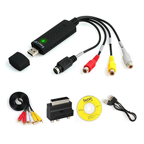 CAMWAY Grabber Box Scheda USB di Acquisizione Video Audio USB 2.0 Convertitore VHS in DVD via S-Video, Cavo di Trasferimento Per Windows 2000/XP/Vista/Win7/Win8/Win10 Usb 2.0 Video Grabber Capture
